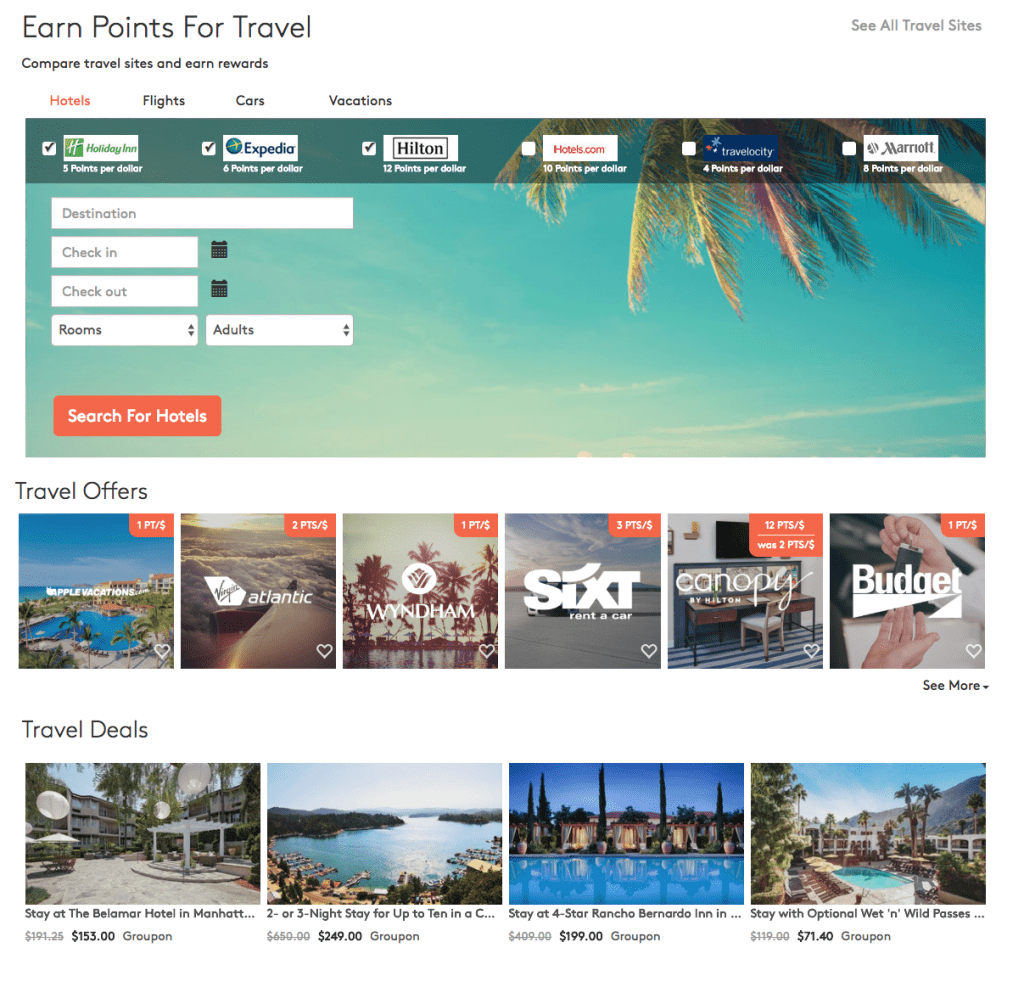 earn points for travel mypoints